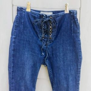 FREE PEOPLE LACE FRONT SKINNY JEANS 25